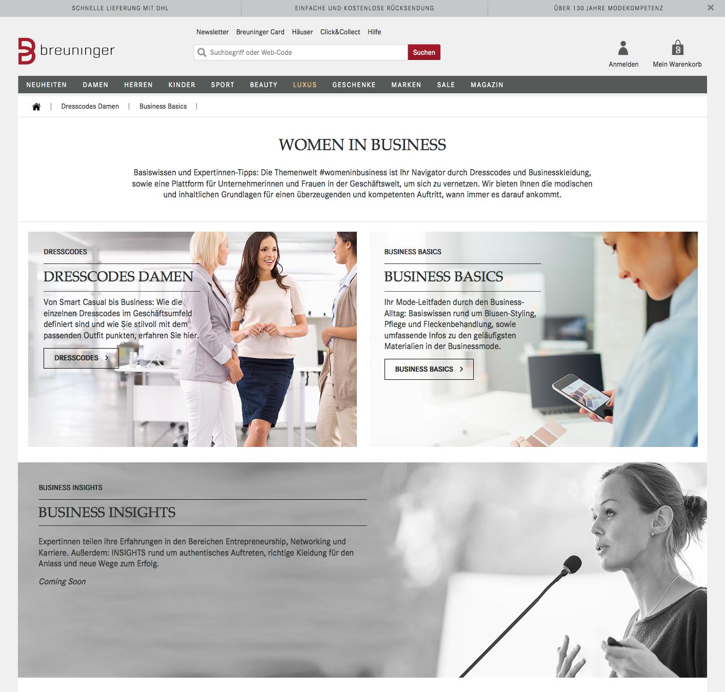 Previw der Startseite Women in Business