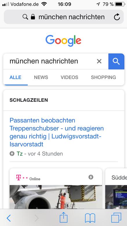AMP Seiten: Google Screenshot